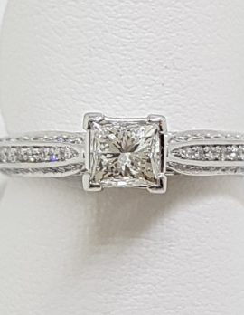 Stunning 18ct White Gold Princess Cut Diamond Engagement Ring - Square set High with Diamonds along shoulder