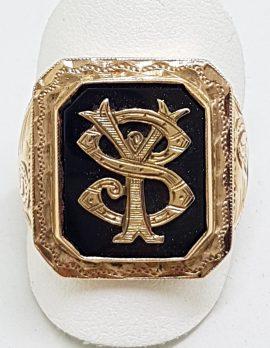 9ct Rose Gold Large Ornate Monogrammed Onyx Ring