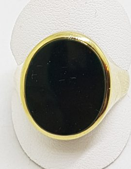 9ct Yellow Gold Large Oval Bloodstone Gents Ring