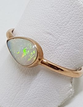 9ct Rose Gold Teardrop Shape White Opal Ring