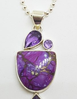 Sterling Silver Purple Copper Turquoise with Amethyst Pendant on Sterling Silver Chain