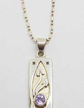 Sterling Silver Ornate Rectangular Amethyst Pendant on Chain