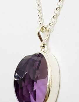 Sterling Silver Large Oval Faceted Amethyst Pendant on Sterling Silver Chain