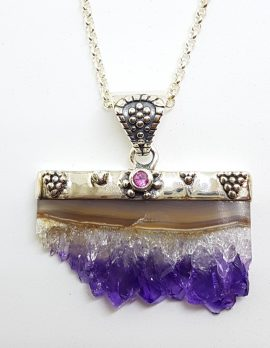 Sterling Silver Amethyst Crystal Slice with Garnet Pendant on Chain