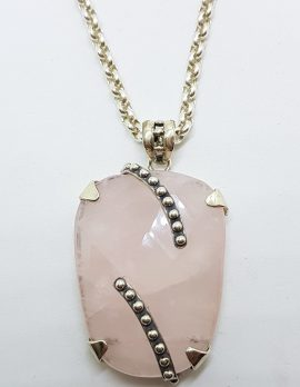 Sterling Silver Rose Quartz Large Pendant on Stg. Silver Chain