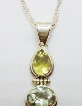 Sterling Silver Green Amethyst / Prasiolite and Citrine Pendant on Chain