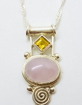 Sterling Silver Cabochon Cut Rose Quartz with Citrine Ornate Pendant on Chain