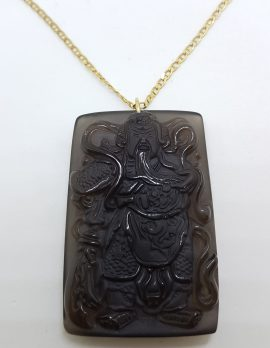 9ct Yellow Gold Large Rectangular Black Obsidian Buddha Pendant on Gold Chain