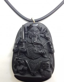 9ct Yellow Gold Large Black Obsidian Buddha Pendant on Gold Clasped Neoprene Chain