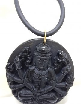 9ct Yellow Gold Large Black Obsidian Durga Goddess Pendant on Gold Clasped Neoprene Chain