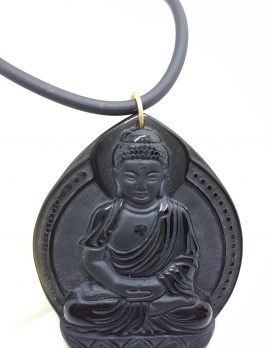 9ct Yellow Gold Large Black Obsidian Buddha/Goddess Pendant on Gold Clasped Neoprene Chain
