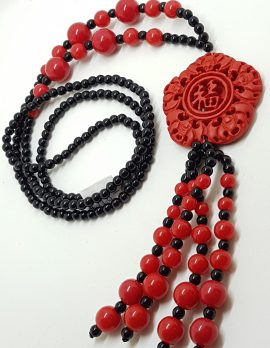 Cinnabar & Black Ornate Long Tassel Necklace