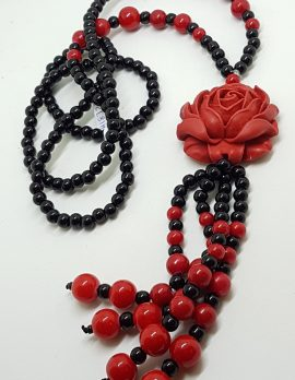 Cinnabar & Black Large Rose Long Tassel Necklace