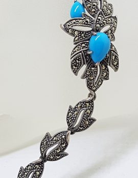 Stunning Sterling Silver Large and Long Reconstituted Turquoise and Marcasite Ornate Bracelet