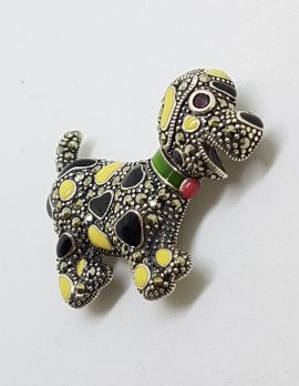 Sterling Silver Marcasite and Enamel Dog Brooch