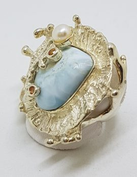 Sterling Silver Larimar Large Russian Design Ring with Citrine and Pearl