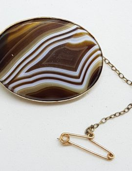 9ct Yellow Gold Large Oval Agate Brooch - Antique / Vintage