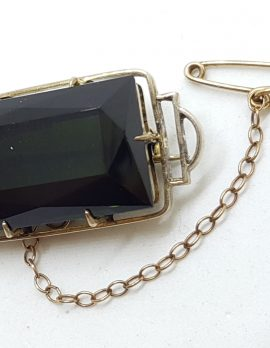 9ct Yellow Gold Rectangular Smokey Quartz Brooch - Antique / Vintage
