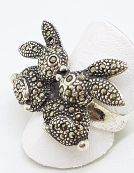 Sterling Silver Marcasite Two Rabbits Ring