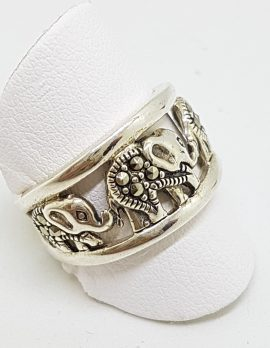 Sterling Silver Marcasite Elephant Band Ring