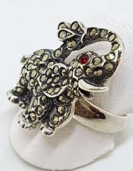 Sterling Silver Marcasite Elephant with Red Eye Ring