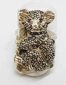 Sterling Silver Marcasite & Garnet Large Koala Ring