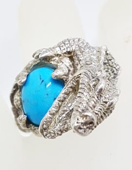 Sterling Silver Large Marcasite & Blue Recon. Turquoise Alligator/Crocodile Ring