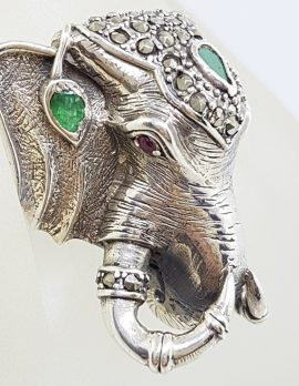 Sterling Silver Very Large Elephant Head Ring with Marcasite and Emerald