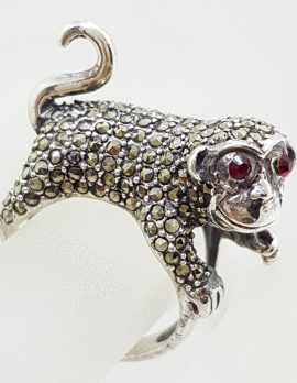 Sterling Silver Marcasite with Red Eyes Monkey Ring