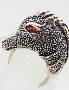 Sterling Silver Marcasite & Garnet Large Horse Head Ring