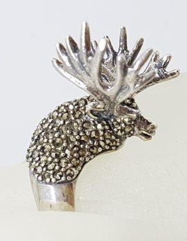 Sterling Silver Marcasite Large Stag/Reindeer/Moose Ring