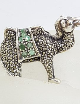 Sterling Silver Very Large Camel Ring with Marcasite and Emerald