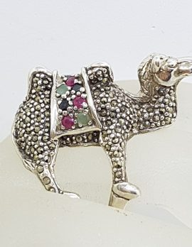 Sterling Silver Very Large Camel Ring with Marcasite, Ruby, Sapphire and Emerald