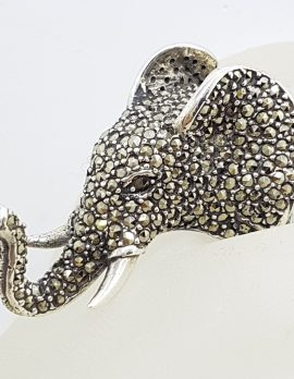 Sterling Silver Marcasite Very Large Elephant Head Ring