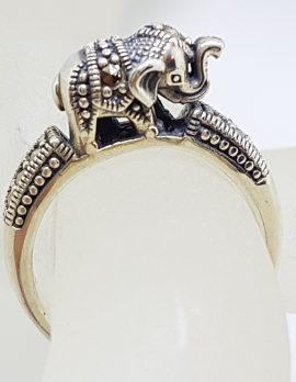 Sterling Silver Marcasite Elephant on Band Ring