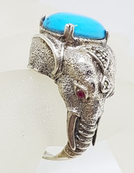 Sterling Silver Marcasite, Recon. Turquoise and Ruby Very Large Elephant Ring