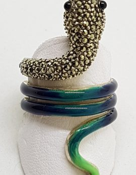 Sterling Silver Marcasite and Enamel Large Coiled Snake Ring - Blue & Green