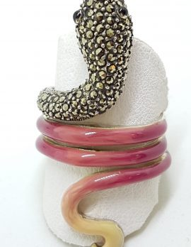 Sterling Silver Marcasite and Enamel Large Coiled Snake Ring - Pink