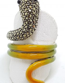 Sterling Silver Marcasite and Enamel Large Coiled Snake Ring - Green & Yellow