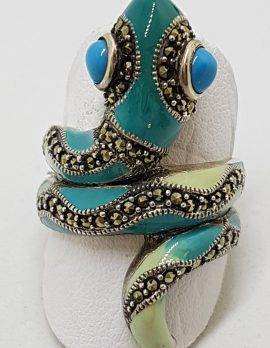 Sterling Silver Marcasite and Enamel Large Ornate Coiled Snake Ring - Turquoise Blue