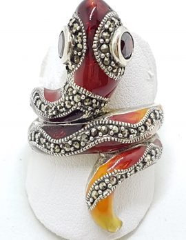Sterling Silver Marcasite and Enamel Large Ornate Coiled Snake Ring - Red & Orange