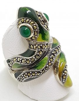 Sterling Silver Marcasite and Enamel Large Ornate Coiled Snake Ring - Green & Yellow