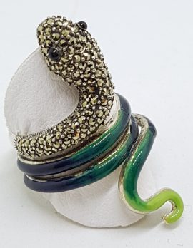 Sterling Silver Marcasite and Enamel Large Coiled Snake Ring - Green & Blue