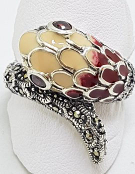 Sterling Silver Marcasite and Enamel Snake Ring - Red & Beige/Cream