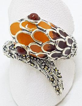 Sterling Silver Marcasite and Enamel Snake Ring - Maroon Red & Orange