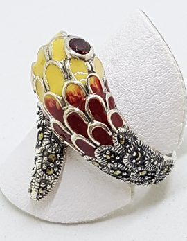 Sterling Silver Marcasite and Enamel Snake Ring - Maroon Red & Yello