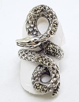 Sterling Silver Marcasite Large Coiled Snake Ring