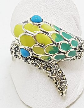 Sterling Silver Marcasite and Enamel Snake Ring - Turquoise & Yellow