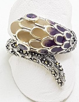 Sterling Silver Marcasite and Enamel Snake Ring - Purple & Yellow