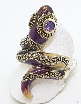 Sterling Silver Marcasite and Enamel Large Ornate Coiled Snake Ring - Purple & Beige